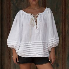 AMALFI Top, White Smock Top with Rope Ties and Pin Tuck detail - Lace Up Blouse, Loose Fitting Shirt / Bell Sleeve by ljcdesignss on Etsy Look Boho, Linen Blouse, Mode Hijab, Blouse Styles, Sewing Clothes, Linen Fabric, Types Of Sleeves, Smocking, Fashion Dresses