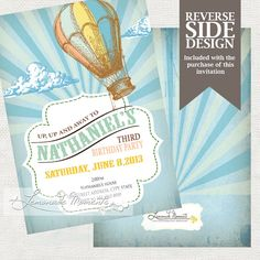 Hot Air Balloon Party Invitation- Printable Birthday or Wedding /  Baby Shower Invite - Teal