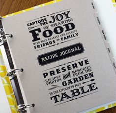recipe journal  $44 from rag and bone bindery  i love this, i tend to make notes in margins of my favorite cookbooks about what worked or for which occasions things were made, so i love telling the story of a recipe.  this is great :)