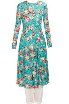 Sea green floral print kurta with peach salwar and embroidered dupatta available only at Pernia's Pop Up Shop.
