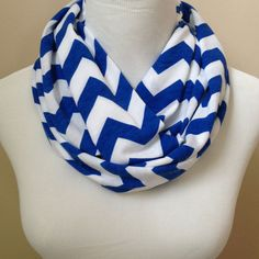 Royal Blue Chevron Jersey Infinity Scarf by oneforonecreations, $19.50