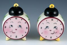 Vintage Ceramic Anthropomorphic Clock Face Salt and Pepper Shakers Made In Japan