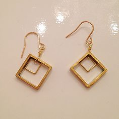 Square vintage style earrings $48 by Raised by wolves NYC
