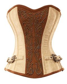 VG-107 Ivory Brocade Pattern with Bronze Panel and Gold Detailing Corset | eBay