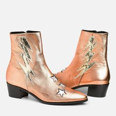 The Original Bolt boot is a fan favorite! The toe shape is a perfect point that is fashionable yet comfortable. Rose Gold Boots, Gold Ankle Boots, Gold Shoes, Rio Grande, Gold Leather, Leather Heels, Bootie Boots, Shoe Boots, Couture
