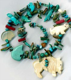 """Turquoise Horn Animal Beads Fetishes~Buffalo Fox Zuni Bears Red Coral Stone 16"""" Tucson Gem Show, Coral Stone, Red Coral, Turquoise Bracelet, Buffalo, Bears, Fox, Animal, Jewelry"""