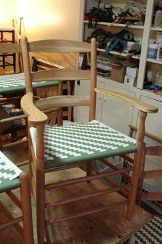 A cherry Tappan End Chair, with an olive and natural herringbone weave Herringbone, Weave, Dining Chairs, Cherry, Patterns, The Originals, Natural, Furniture, Home Decor