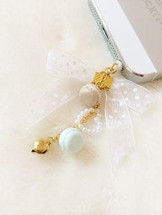 Macaron dust plug - angelic pretty phone charm - lolita bow phone strap with bell