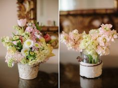Pink & Yellow Vintage Rustic centerpiece