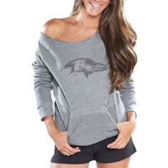#BaltimoreRavens #RayLewis (CLICK IMAGE TWICE FOR UPDATED PRICING AND INFO)  NFL Cuce Fleece Baltimore Ravens Ladies Crystal Side-Liner Sweatshirt - Gray