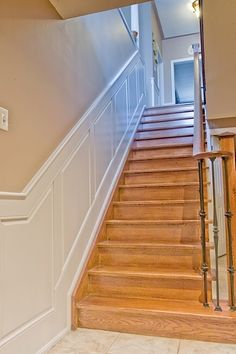 Easy And Cheap Useful Ideas: Wainscoting Door Diy wainscoting beadboard backsplash ideas.Wainscoting Wallpaper Stairs wainscoting nursery home. Beadboard Wainscoting, Wainscoting Nursery, Dining Room Wainscoting, Wainscoting Panels, Wainscoting Ideas, Stairs Trim, Stair Paneling, Paneling Walls, Wood Panel Walls