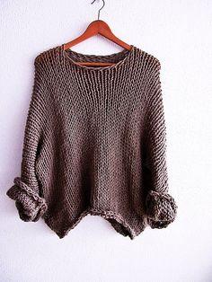 Jersey Marron  slouchy  suéter de punto suave  por armarioenruinas