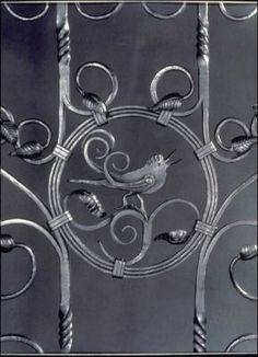 "Wrought Iron Garden Gate Detail    These wrought iron garden gates are samples of hand forged steel with more traditional design motifs. Each gate produced by Enrique Vega is unique due to the traditional blacksmithing techniques of Fire, Hand, and Hammer. Size: 3'W x 4'H x 2""D"
