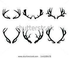 Silhouettes of deer antlers-vector by KatarinaF, via ShutterStock