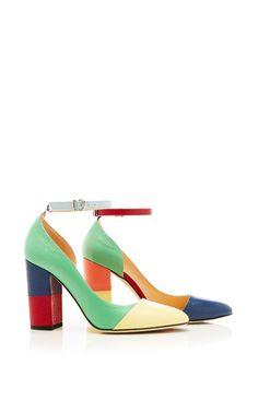 Asymmetric Cut Away Cap Toe Block Heel Sandal In Patent Pebble Grain by Thom Browne - Moda Operandi