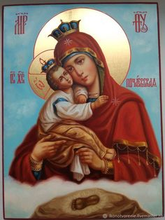 The Pochaev Icon of the Mother of God, handpainted icon, Russian Orthodox Icon Byzantine Icons, Byzantine Art, Religious Icons, Religious Art, Church Icon, Blessed Mother Mary, Russian Orthodox, Art Icon, Orthodox Icons