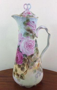 Spectacular Chocolate Pot, Pouyat Limoges, Artist Wolcott, Pink Roses