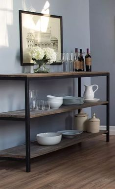 H O M E Perfect for first apartments or cozy living spaces, this sleek console table tucks behind a Style At Home, Cozy Living Spaces, Muebles Living, French Country Living Room, Bars For Home, Apartment Living, Apartment Bar, Home Fashion, Family Room