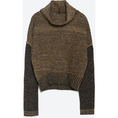 Zara Twist Knit Turtle Neck Sweater ($50) ❤ liked on Polyvore featuring tops, sweaters, zara, turtle neck tops, zara top, twist sweater, twist top and brown turtleneck