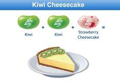 Kiwi Cheesecake Jelly Belly Flavor Recipe Bean Recipes, Candy Recipes, Yummy Recipes, Strawberry Cheesecake, Cheesecake Recipes, Jelly Belly Flavors, Combo Recipe, Good Food, Birthday
