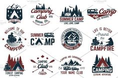 Summer camp. Travel Icons