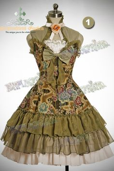 Qi Elegant Lolita: Peonies Bustle Back 2way JSK/Short Dress*4color