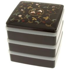 Kotobuki 3 Tiered Jubako Lacquer Box with ornamental Rabbit Design by Kotobuki. Save 5 Off!. $42.57. Plastic lid for each compartment prevents spills. Great for jewelry or other keepsakes. Made in ishikawa prefecture, japan's historical home for lacquerware craftsmen. 3 stackable compartments with lid. Ornamental rabbit and vine design. A jubako is a traditional Japanese stacking lacquered box used for food presentation and storage. Jubako are most often used during new year's ce...