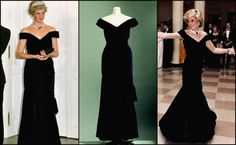 Off the shoulder midnight blue velvet gown designed by Victor Edelstein. Diana famously wore this dress when she danced with John Travolta at a state dinner at the White House in 1985.