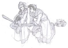 Harry and Ginny from Burdge. Love me some fan art. This is what I like to call book-Harry.