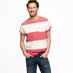 From J. Crew- Decked out with a wide stripe and crafted in our insanely soft slub jersey, this one has beach day written all over it.  Slub cotton jersey.  Original fit.  Crewneck.  Rib trim at neck.  Short sleeves.  Chest pocket.  Machine wash.