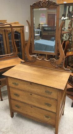 Beautiful Antique Oak Dresser 3 Drawers Princess Mirror 19d36w34h73h Shipping Is Not Free
