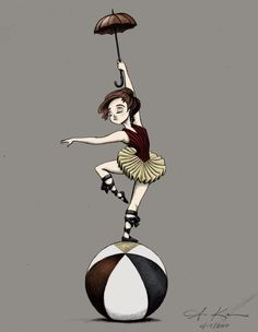 Artwork by Amber C. Kenneson: Circus: acrobat, balancing act (color)