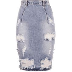 One Teaspoon Free Love Skirt ($130) ❤ liked on Polyvore featuring skirts, bottoms, distressed denim pencil skirt, one teaspoon, knee length pencil skirt, distressed denim skirt and pencil skirt