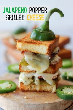 Jalapeno Popper Grilled Cheese ~ Roasted jalapeño neatly tucked in a 2-tier sandwich loaded with applewood smoked bacon and jalapeño jack cheese!