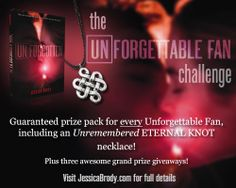 Celebrate the release of UNFORGOTTEN by Jessica Brody by joining the Unforgettable Fan Challenge! Every Unforgettable Fan gets a guaranteed prize pack (including an Unremembered necklace!)