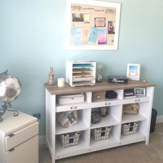 My home office makeover with Tidewater paint color on the walls!