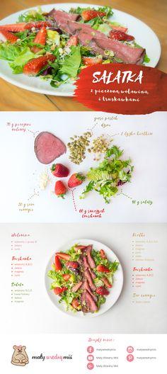 Dieta na płodność - Przepisy! - Sałatka z pieczoną wołowiną i truskawkami