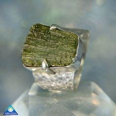 Natural Moldavite Mens 37 Carat Ring SR411 by ArkadiaCollection