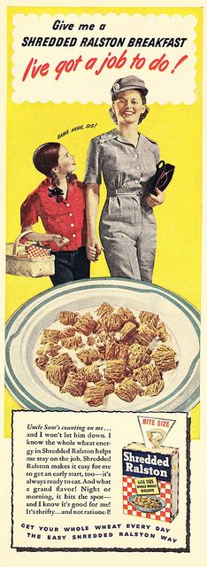 Get this lady some Shredded Ralston's, she's got a job to do! #vintage #1940s #WW2 #food #ads