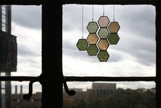 Stained Glass Ombre Honeycomb Drops set of 4 by BespokeGlassTile, $51.00
