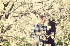 Photos in blossoming tree orchard? So cute and pretty!