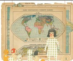 Come funziona la maestra Collage Drawing, Vintage World Maps, Illustration Art, Drawings, Artist, Mixed Media, Collages, Journals, Blog