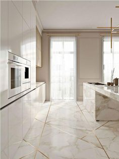 + kitchen design ideas for your 2019 home renovation The kitchen should be the heart of every home. That's why we have gathered the most beautiful modern kitchen design ideas for your 2019 home renovation. Stylish Kitchen, Modern Kitchen Design, Interior Design Kitchen, Interior Decorating, Interior Design Curtains, 3d Interior Design, Interior Modern, Marble Interior, Gold Interior