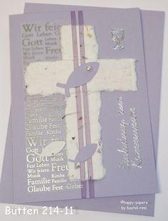Einladungskarten - Einladung zur Kommunion handgeschöpftes Papier - ein Designerstück von happy-papers bei DaWanda