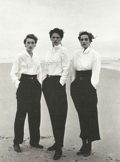 1987.  Model Marie Sophie Wilson, Lynne Koester and Tatjana Patitz wearing Comme des Garçons. Photo by Peter Lindbergh (B1944)