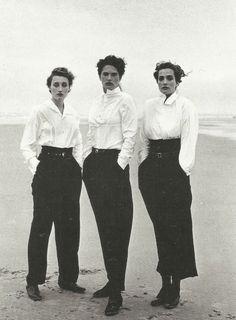 1987.  Model Marie Sophie Wilson, Lynne Koester and Tatjana Patitz wearing Comme des Garçons. Photo by Peter Lindbergh (B1944)