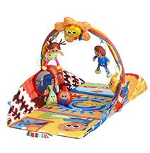 Lamaze Pyramid Play House Gym  This clever Lamaze play gym transforms with each stage of baby's development. Colourful and full of possibilities, the double-sided mat provides extra playtime fun. A Tummy Time mirror and baby activated sun create interest, while rattle, crinkle, and squeaky soft shapes all make learning colours and shapes all the more fun.