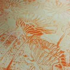 Barbara Gray's Blog. One Day at a Time. New Poppies, served on a Gelli Plate  - But wait! What about the dried pattern on the Gelli Plate? Add a pea-size amount of Buff Titanium on top of the dry paint. so that you would never know there was anything underneath. Lay a clean piece of white square card onto the wet paint. Burnish the back. Pull the print. Perfect!