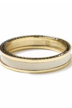 House of Harlow 14KT Gold-Plated Cream Leather Stack Bangle