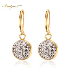 Meaeguet CZ Stone Water Drop Earrings For Women Gold-Color Female Crystal Earring Stainless Steel Jewelry
